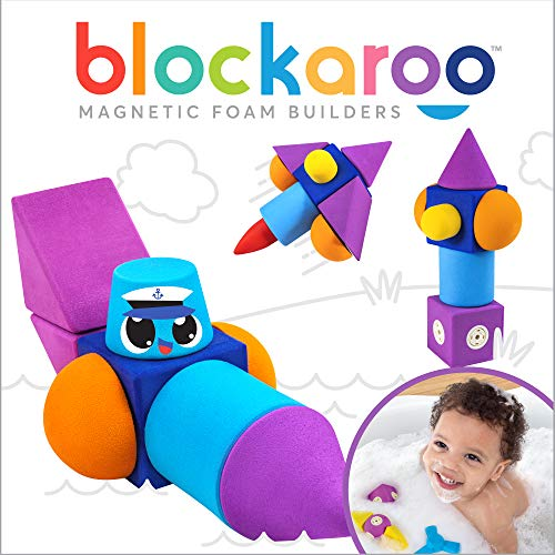 Blockaroo Magnetic Foam Building Blocks - STEM Construction Toys for Boys and Girls, Soft Foam Blocks Develop Early Learning Skills, The Ultimate Bath Toys for Toddlers & Kids - Speed Boat Set