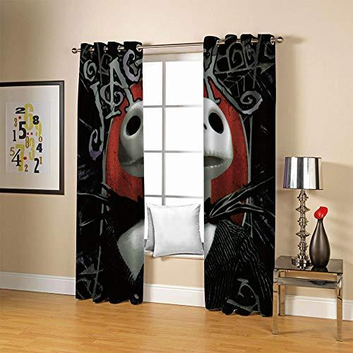 carmaxs Cortinas opacas 100% opacas, aislante Sala de niños Sala de estar Dormitorio Comedor - Aislamiento térmico reducción de ruido - Dibujos animados blanco horror cráneo 160x160 cm