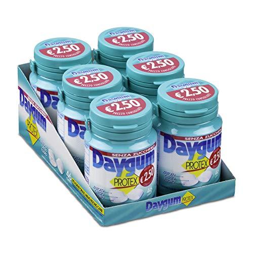 Daygum Protex Gomme da Masticare Senza Zucchero, Barattolo Chewing Gum Gusto Menta, Confezione da 6 Mini Barattoli, 46 Gomme Ognuno