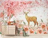 Papel tapiz 3D ladrillo flor de cerezo bosque de alces pintado a mano pintura de pared interior papeles de pared Fo Pared Pintado Papel tapiz 3D Decoración dormitorio Fotomural sala mural-430cm×300cm