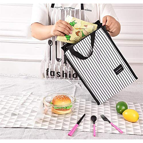 Kaned Bolsa de almuerzo reutilizable portátil con aislamiento para hombres y mujeres, bolsa de picnic, rayas blancas y negras