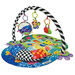 Baby activity mat - lamaze freddie the firefly baby mat offers 3 different positions to follow baby's growth: lay and play, tummy time and sit and play 3-in-1 baby play gym - there are 3 dangling sensory toys for baby to reach for and focus on Cushio...
