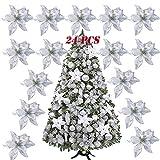 SERWOO 24pcs Flores Artificiales Decoraciones �rbol Navidad Boda Fiesta DIY Color Plateado (Diámetro 15 cm)