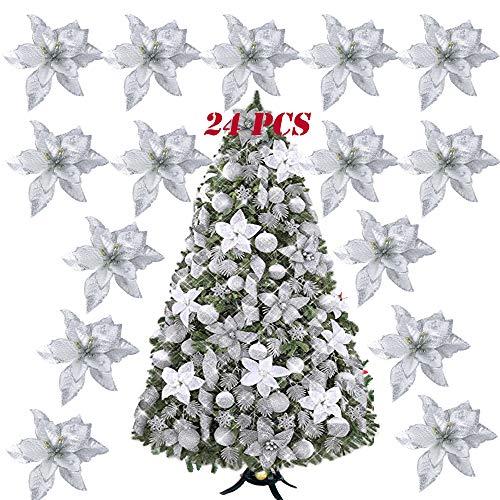 SERWOO 24pcs Flores Artificiales Decoraciones Árbol Navidad Boda Fiesta DIY Color Plateado (Diámetro 15 cm)
