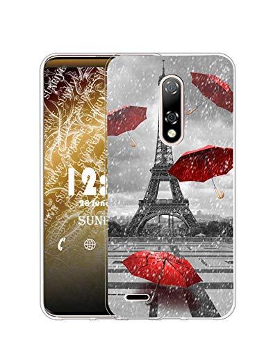 Sunrive Funda para Ulefone Note 8, Silicona Slim Fit Gel Transparente Carcasa Case Bumper de Impactos y Anti-Arañazos Espalda Cover(Q Torre de Hierro)
