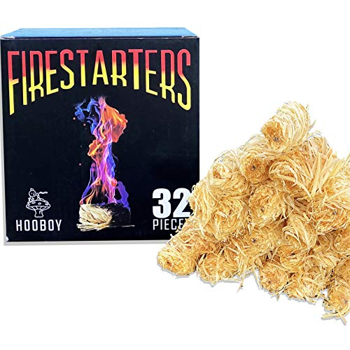 HOOBOY Natural Fire Starter, Charcoal Starter for BBQ Grill,Wood Stove, Fast Lighting 32 Pieces, Camping Fire Starters, Chimney Starter, Fireplace Starter