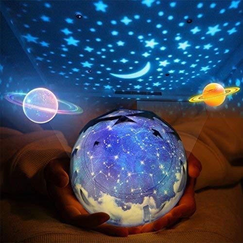 Lampe de projection couleur, diamant magique univers fantaisie Terre starlight rotation intelligente LED lumière de nuit créative USB haut-parleur lumière