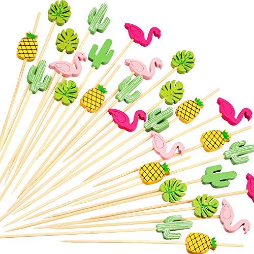 200 Pack Cocktail Picks 4.7 Inch Fruit Sticks Bamboo Toothpicks for Luau Hawaii Beach Party Supplies (Hawaii Set)