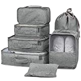 Packing Organizers - Clothing Cubes Shoe Bags Laundry Pouches For Travel Suitcase Luggage, Superior Canvas Storage Organizer 7 Set Color Grey