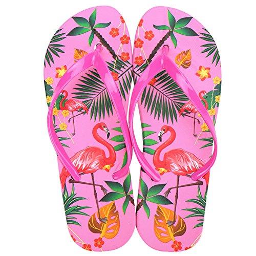 Damen Mädchen Fashion Flamingos Zehentrenner Anti-Rutsch Flip Flops Hausschuhe Sandalen Rose EU 39/ Tag 40