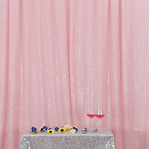 Eternal Beauty Pink Sequin Wedding Backdrop Photography Background Party Curtain, 5Ft X 7Ft