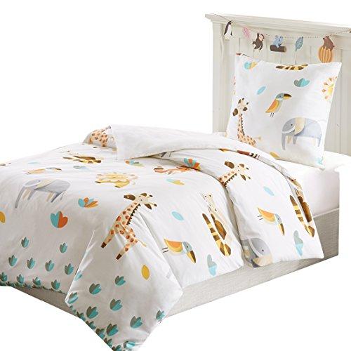 SCM Kinder Bettwäsche 135x200cm Tiere Elefanten 2-teilig Bettbezug Kopfkissenbezug 80x80cm Mädchen Jugendliche Animal Zoo Off White Grau