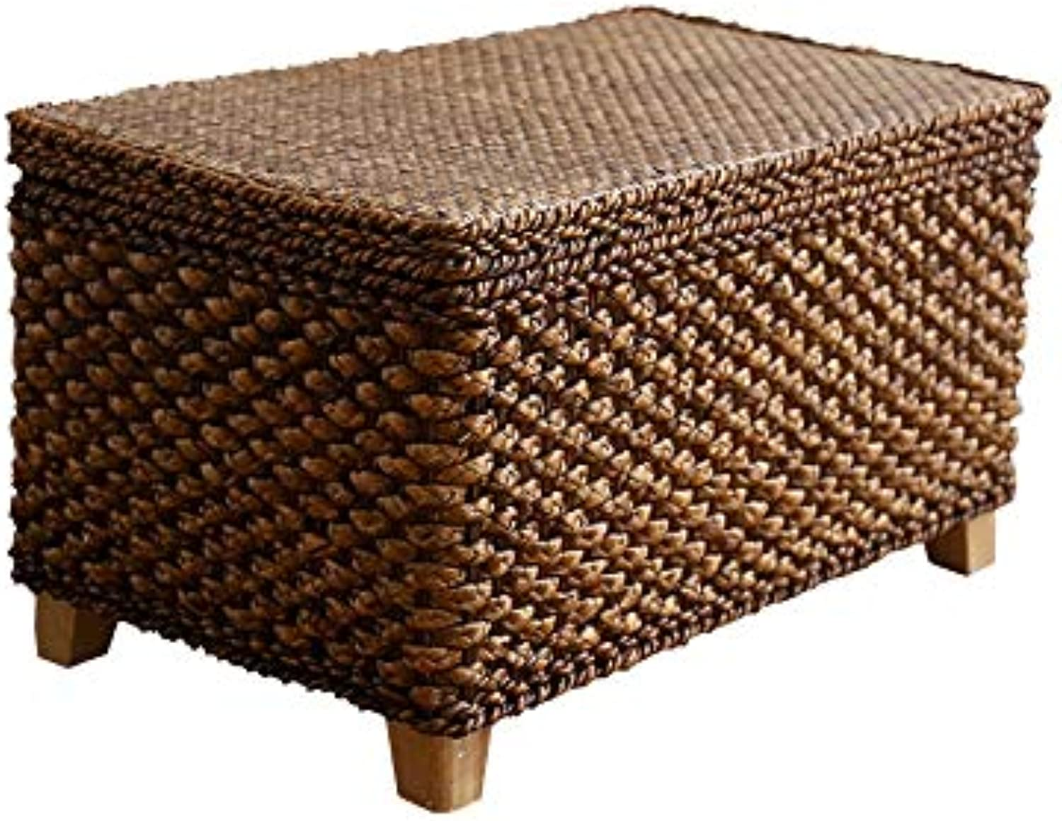 Wei Zhe- Storage Stool Rattan Straw Multi-Function Storage Stool Change shoes Stool Footrest Sofa Square Stool Can Sit People Finishing Storage Box Can Withstand 150KG Household Storage Stool