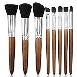 8pcs kit de pinceles de maquillaje pinceles cosméticos fundación imitación sándalo mangos de madera herramientas de cono de fibra(negro2)