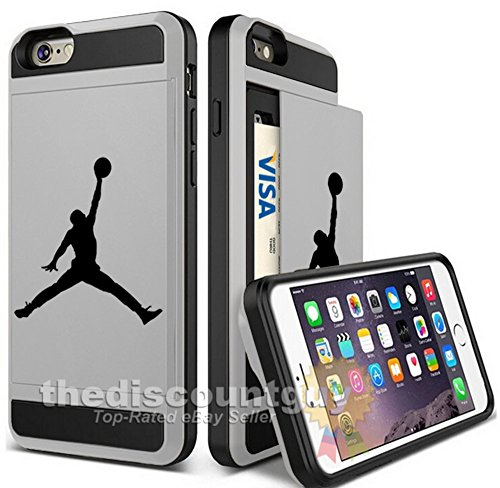 Apple iPhone 6/6S Plus - Dual-Layered Credit Card ID Storage Basketball Case Michael Jordan Store Money Cash Slide Wallet Jumpman Air Protective Cover (Silver)