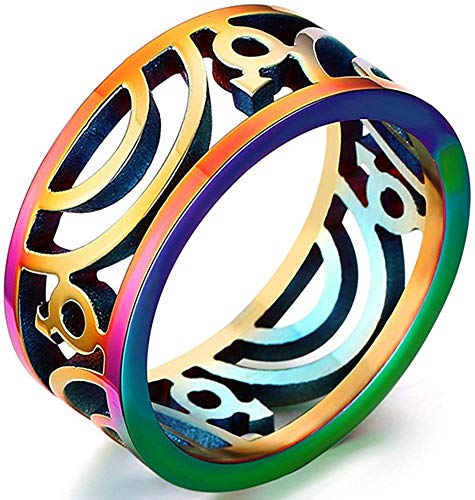 LAMUCH True Love Rainbow Wedding Band Anillos Clásico 9MM Titanio Acero Inoxidable Vintage Filigrana Gay Lesbian Promise Anillos Tamaño 7-13