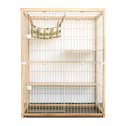 Greenfamily 猫 ケージ 2段 木製 ハンモック付 引き出し式トレー付  (-ナチュラル)