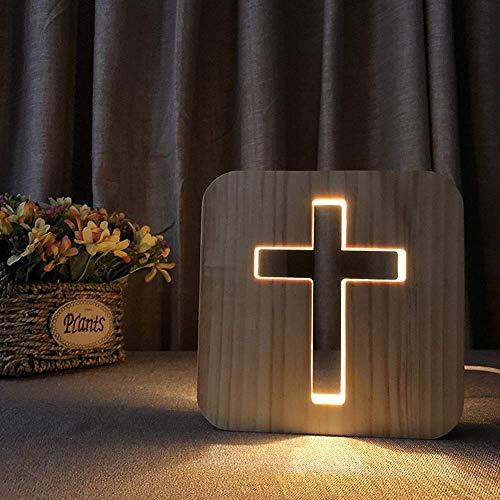 Lampada da Tavolo Croce USB LED Night Light Lampada da Tavolo Decorativa in Legno Vuoto Camera da Letto Creativa 3D Camera per Bambini Compleanno 19 19 cm Scrivania