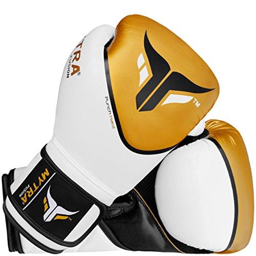 Mytra Fusion Boxing Gloves Punch Hard SL-5 Training Bag Gloves (White/Gold, 12-oz)