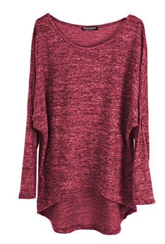 Emma & Giovanni - Pullover/T-Shirt Oversize - Damen (XL-XXL, Bordeaux)