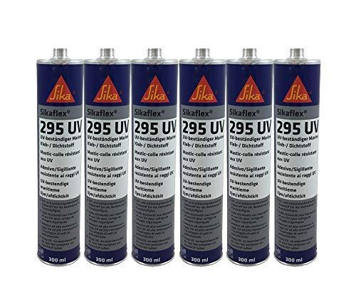 Sparset 6x Sikaflex 295 UV Scheibenkleber für Kunststoffscheiben, extrem UV-resistent, ideal für den Bootsbau 300ml schwarz