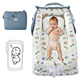 Oenbopo Baby Lounger Cotton Breathable Baby Bassinet Portable Sleeping Baby Bed for Cuddling, Lounging, Co Sleeping, Napping and Travel (White; 33.417.74.7inch)