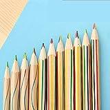 カイチ(CAIQI) 10本 虹色鉛筆 4色芯 かわいい多色絵画鉛筆 カラフル芯ペン 落書きカラー鉛筆 文房具 絵画ツール (ミックス色木製)