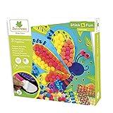Pompons et gemmes autocollants pour enfants - 3 tableaux papillons - Loisir créatif - Stick & Fun - Dès 3 ans - Sycomore - CRE7017