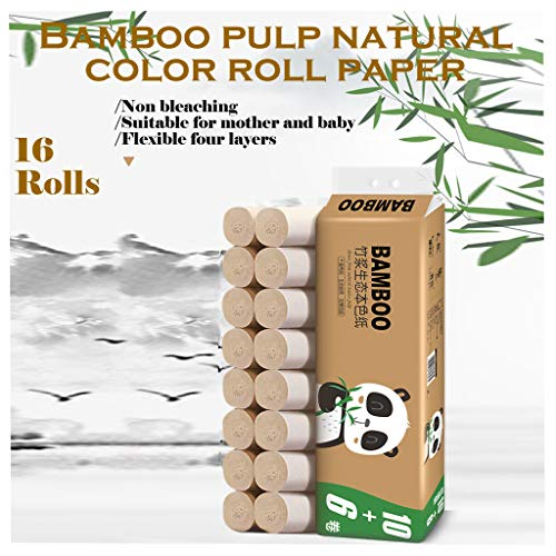 Xisimei Papel higiénico, 16 rollos de papel higiénico, papel de celulosa de madera autóctona, supersuave y fuerte, 4 capas, papel higiénico, 122 mm x 130 mm