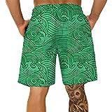 Pantalones Cortos Hombre Deporte SHOBDW Hawai 3D Impresión Verano Pantalones Cortos Playa 2021 Nacionalidad Estilo Pantalones Hombre Chandal Cordón Elástico Cortos Tallas Grandes (Green, XXXXL)