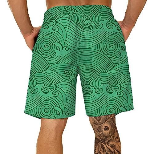 Bañador para hombre en 3D con impresión para la playa y la impresión, para deportes de verano, talla grande verde 4XL