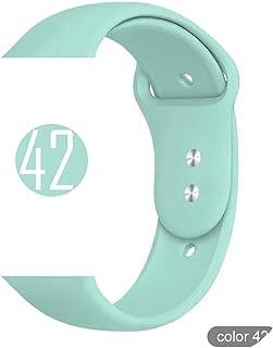 絶妙なFor Apple Watch 5 4 3 2 1 38MM 42MMバンド用の柔らかいシリコーンスポーツバンドFor iwatchシリーズ5 4 40mm 44mm用ラバーウォッチバンドストラップ-42 marine green-42mm or 44MM S M