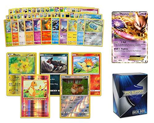 Ultra Rare Pokémon Bundle- 50+ Cards= 50 Cards + 5 foil Cards, 1 Legendary Ultra-Rare Card, Plus a Pro Support Deck Box