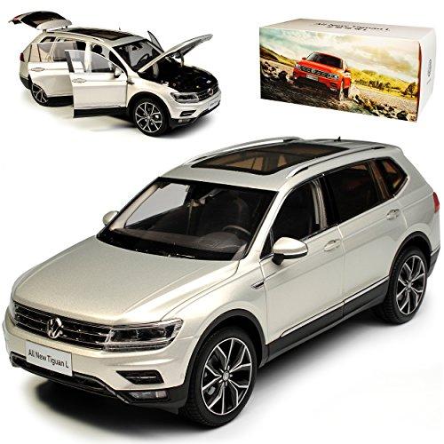 Paudi Volkwagen Tiguan II SUV L Allspace Silber 2. Generation Ab 2016 1/18 Modell Auto mit individiuellem Wunschkennzeichen