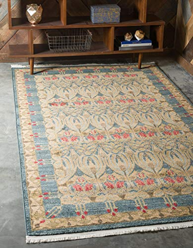 Unique Loom Edinburgh Collection Oriental Traditional French Country Navy Blue Area Rug (8' x 10')