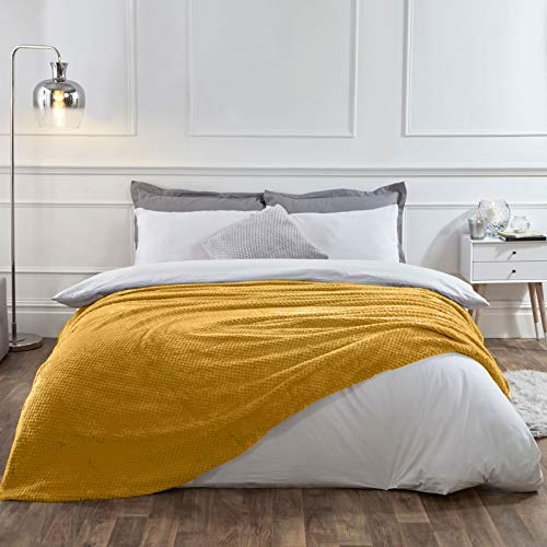 Dreamscene Luxury Waffle Honeycomb Warm Throw Over Sofa Bed Soft Blanket 200 x 240cm, 100% Polyester, Faux Fur, Ochre Mustard Yellow, King