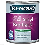 (11,76 €/ Liter ) 5 Liter RENOVO Acryl Buntlack seidenmatt WEISS