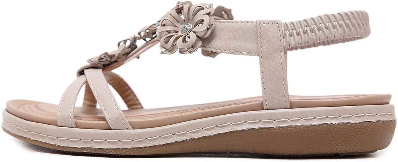Women Elastic Strap Rhinestones Summer Flat Open Toe Sandals, Bohemia Style Flip Flops Casual Sandals shoes