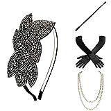 BABEYOND 1920s Flapper Set Damen Gatsby Kostüm Accessoires Set inklusive Stirnband Halskette Handschuhe Zigarettenhalter (Set-28) -