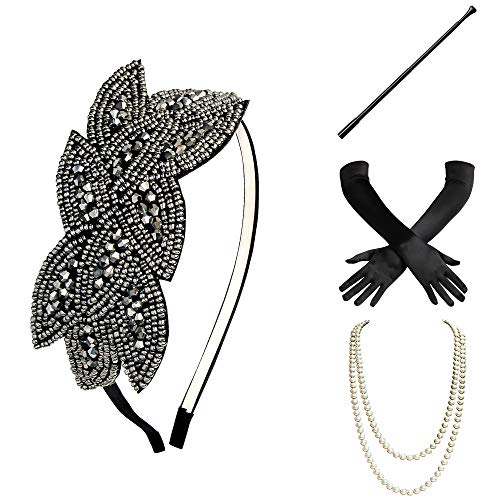 BABEYOND 1920s Flapper Set Damen Gatsby Kostüm Accessoires Set inklusive Stirnband Halskette Handschuhe Zigarettenhalter (Set-28)