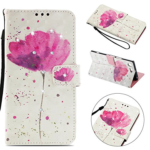 Tophung Sony Xperia XZ Premium Case, Shockproof 3D Handmade Bling Sparkly Diamonds PU Leather Flip Wallet Phone Case with Magnetic Card Holder Slot Silicon Back Cover for Sony Xperia XZ Premium Lotus