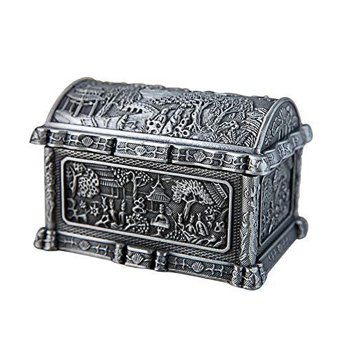 Preisvergleich Produktbild HYMY Kleine Schmuckschatulle Haushalt Retro kleinen Desktop-Schmuck-Box Klassische Garten Schmuck Storage Box für Ringe,  Ohrring,  Halskette (Color : Silver,  Size : 8.8X6X5.2CM)
