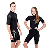 Seavenger Navigator 3mm Shorty | Short Sleeve Wetsuit for Men and Women | Surfing, Snorkeling, Scuba Diving (Scuba Black, Men's X-Small)
