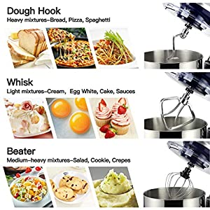 Elegant Life 1500W Küchenmaschine, 5.5L Auto-Knetmaschine Rührgeräte, Abnehmbar Mixer mit Rührschüssel, einschließlich Schläger, Teighaken, Schneebesen und Schüsseldeckel Schüssel