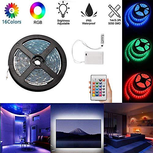 1m RGB LED Tira Luces LED de cuerda flexible alimentada por batería Resistente al agua con caja de fuente de alimentación de batería y control remoto