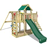 WICKEY Climbing Frame TwinFlyer Wooden Play Tower with Slide, Swing, Sandpit + Complete Accessory Set, Green