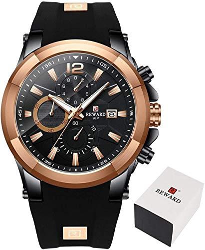 Merk Mannen Horloges Waterdichte Siliconen Strap Sport Chronograph Quartz Horloge voor Mannen Polshorloge Mode Seringi-Zwart goud Evolutions