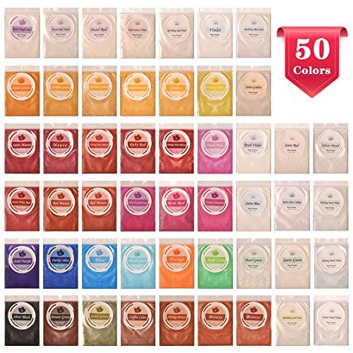 SEISSO 50er Epoxidharz Farbe, Mica Metallic Pulver Seifenfarbe Set Resin Gießharz Pigmentpulver Farbpigmente für Epoxidharz Schmuck Seife DIY, jede Farbe ca. 5ml