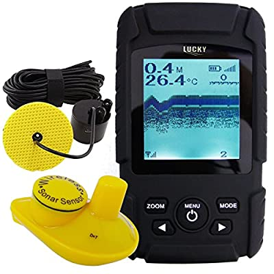 Lucky Handheld 2-in-1 Fish Finder Wired Cable 100m and 40m Wireless Sensor with Rechargeable Li Battery