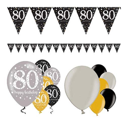 Feestelijke feesten verjaardagsdecoratie 80e verjaardag | 13 delen Decorset luchtballon wimpel slinger banner goud zwart zilver metallic party Happy Birthday 80